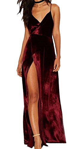 72977b31ef Alion Women s Velvet Spaghetti Strap V Neck Evening Dress with Thigh ...