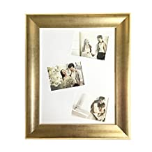 Lilian Antique Gold Collage Display 16x20 Photo Frame - Made to Display Three 5x7 Pictures with Mat or 16x20 without Mat- Wall Mounting Material Included