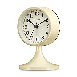 Chelvee Alarm Clock,3 inches Quartz Analog Desk Alarm Clock, Silent No Ticking,Battery Operated