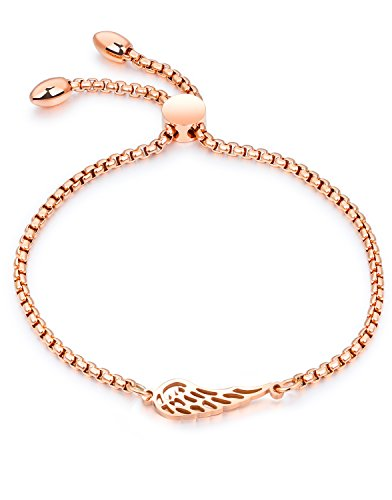 LineAve Women's Stainless Steel Angel Wing Adjustable Length Bracelet, Rose Gold Color, 3d3209