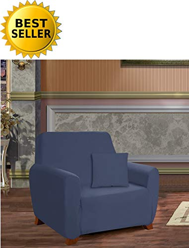 ction Luxury Soft Furniture Jersey Stretch SLIPCOVER, Chair Navy Blue ()