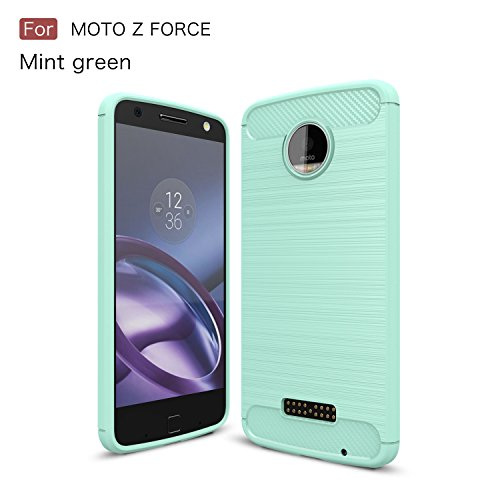 Price comparison product image Moto Z Force Case,Moto Z Force Droid Case,DAMONDY Brushed Armor Resilient Shock Absorption Carbon Fiber [Wiredrawing Series][SOFT] Full Protection Phone Case for Motorola Moto Z Force -Mint
