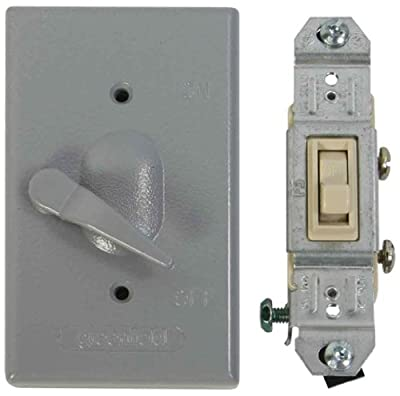 Greenfield KDL1P Weatherproof Electrical Box Lever Switch Cover with Single Pole Switch