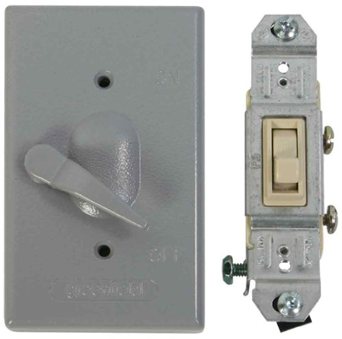 Made In USA Electrical Box Outlet Cover U0026 Single Pole Switch Kit   Gray