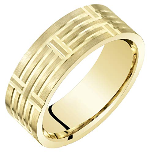 Mens 14K Yellow Gold Wedding Ring Band 7mm Geometric Style Comfort Fit Size 8.5