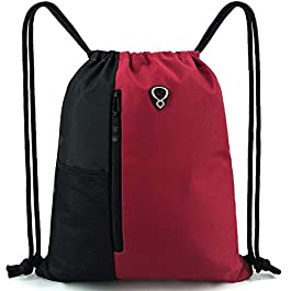 Drawstring Bag Backpack String Swim PE Bag Large Drawstring Sports Gym Bag for Women Mens with Zipper and Mesh Pockets, Travel Beach Bag Pack for Teens Unisex