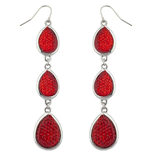 14k Caviar - Lux Accessories Silvertone Red Caviar Glitter Christmas Teardrop Dangle Earrings