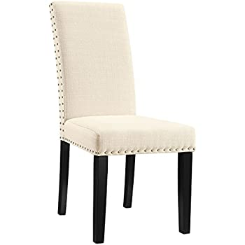 Delicieux Modway Parcel Modern Upholstered Fabric Parsons Dining Chair With Polished  Nailhead Trim And Wood Legs In