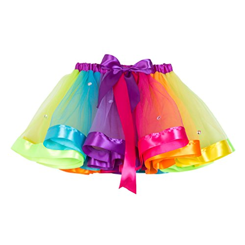 MOLFROA Baby Girls Colorful Layered Dance Outdoor Rainbow Tutu Skirt (Small/1-3 Years, Rhinestone Rainbow) by MOLFROA (Image #3)