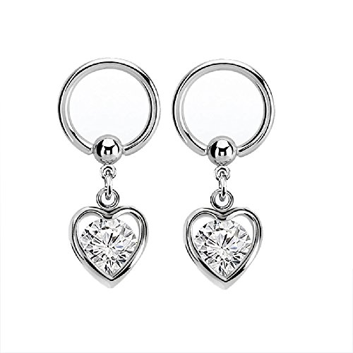 - Pierced Owl Crystal Enclosed Heart Dangling Captive Bead Nipple Rings - Sold as a Pair (Clear)