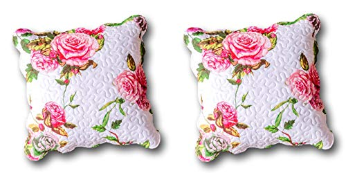 DaDa Bedding Cotton Throw Pillow Covers - Set of 2 Romantic Roses Lovely Spring Pink Floral - 18