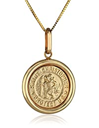 14k Yellow Gold Italian Saint Christopher Round Medal Pendant Necklace, 16""