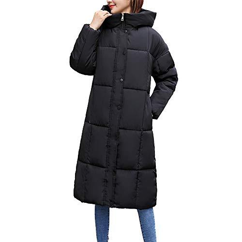 Realdo Womens Button Down Coats Clearance Sale,Women Long Pocket Plaid Stand Collar Hooded Parka(Medium,Black)