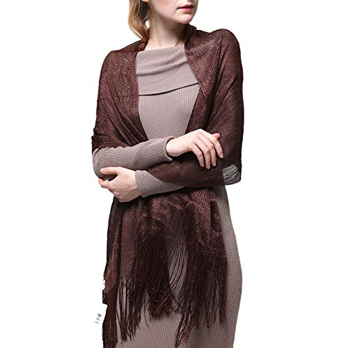 Womens Wedding Evening Shawl and Wrap Glitter Metallic Party Dresses Scarf with Fringe (Brown)