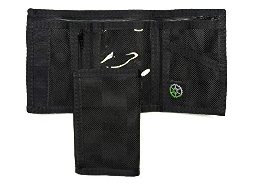 Ballistic Nylon Trifold Wallet with Zippered Coin Pocket (Black) - Made in USA