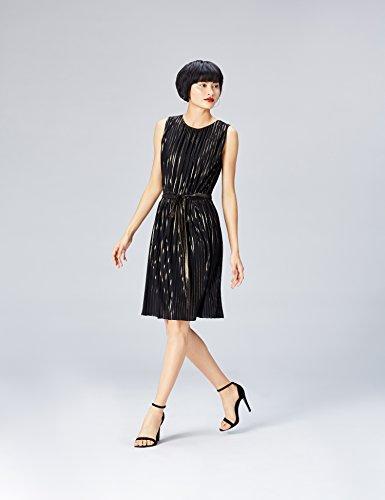 Damen Fasern Abendkleid FIND Falten Schwarz Gold Black Metallic Plissee mit und Oq0w5x5Cd