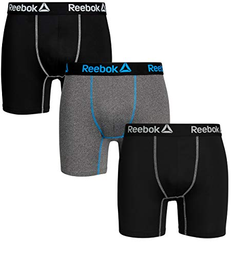 Reebok Mens 3 Pack Performance Quick Dry Moisture Wicking Boxer Briefs (Medium