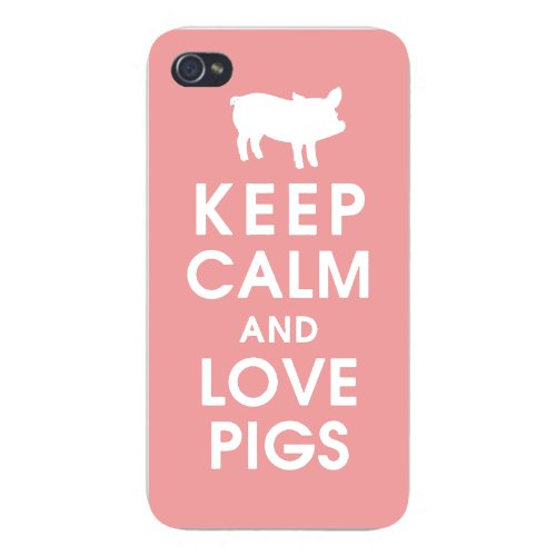 Apple Iphone Custom Case 4 4s White Plastic Snap on - Keep Calm and Love Pigs w/ White Silhouette