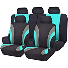 NEW ARRIVAL- CAR PASS Line Rider 11PCS Universal Fit Car Seat Cover -100% Breathable With 5mm Composite Sponge Inside,Airbag Compatible (Black And Mint Blue)