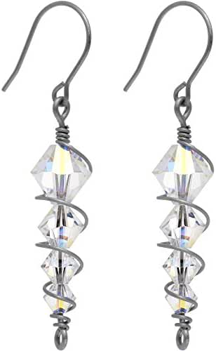 Body Candy Handcrafted Titanium Clear Icicle Drop Earrings Created with Swarovski Crystals