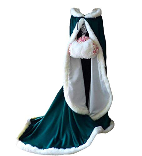 Warm Long Wedding Cloak Hooded Cape Winter Fur Trim and Hand Muff 71 IN Teal]()