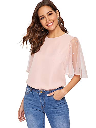 DIDK Women's Pearl Beaded Mesh Bell Sleeve Keyhole Back Summer Tee Top Blouse Pink Small