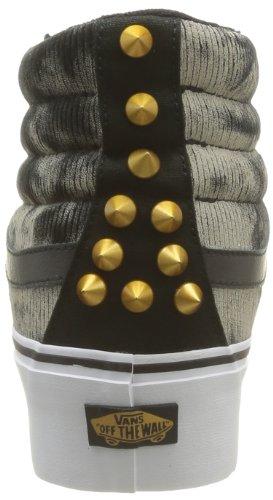 Vans U Sk8-Hi Platform, Damen Sneaker  Grau Grau (Studded Blk/W) 39