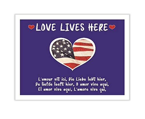 SmithStar Prints Love Lives Here Yard Sign - Love for America, Love for All People - Heavy Duty, Doubled Sided, Corrugated Sign with Metal Stake (18 x 24 inch)