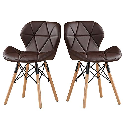 DlandHome Modern Bar Chair PU Leather Set of 2 with Wood Legs for Kitchen, Dining, Bedroom, Living Room, Lounge, Brown 1986-005-BN