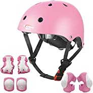 Kids Multi-Sport Helmet with Knee&Elbow Pads and Wrists 7 Pieces Kids Boys and Girls Outdoor Sports Safety