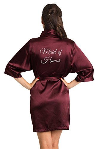 Zynotti Women's Silver Glitter Print Maid of Honor Getting Ready Bridal Party Wedding Kinomo Wine Burgundy Satin Robe, S/M (2-12)]()