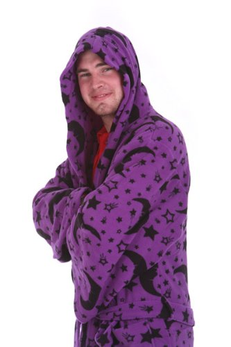 Wizard Purple (Funzee Wizard Black Purple Dressing Gown Robe (Small))