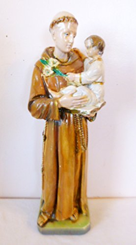 "LARGE 13"" ST ANTHONY OF PADUA Infant Jesus Statue Old Italian vintage chalkware"