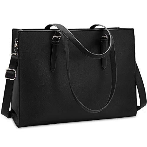 Laptop Bags Totes - Laptop Bag for Women Waterproof Lightweight Leather 15.6 Inch Computer Tote Bag Business Office Briefcase Large Capacity Handbag Shoulder Bag Professional Office Work Bag Black