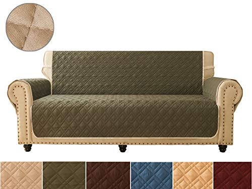 Sofa Cover, Reversible Quilted Furniture Protector, Ideal Loveseat Slipcovers for Pets & Children, Water Resistant, Will Keep your Couch Stain, Dirt & Scratches-Free | Double line checkered grid (Scroll T-cushion Chair Slipcover)