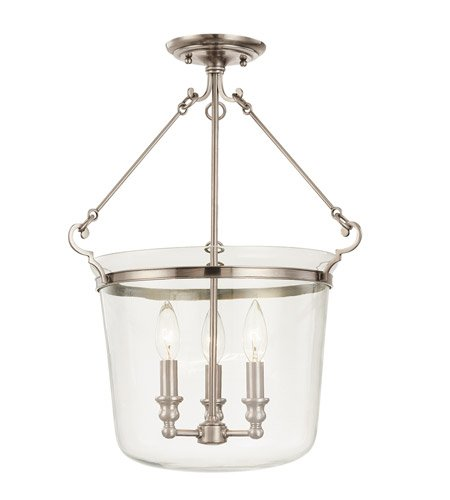Hudson Valley 132-HN, Quinton Large Bowl Pendant, 3 Light, 180 Total Watts, Nickel