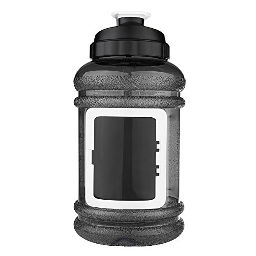 Sport Water Bottle, OUTERDO Drinking Bottle Drinking Container 2.2L BPA Free Big Capacity for Sport Gym Training Camping Workout black