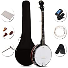 Sonart 5-String Banjo Remo Drum 24 Adjustable Brackets, Mid-range Closed Handle and Mid-range Steel Wire in Plywood Frame, Fingerboard, Include 420D Oxford Cloth Bag, One Strap, Wiper, 3 Picks