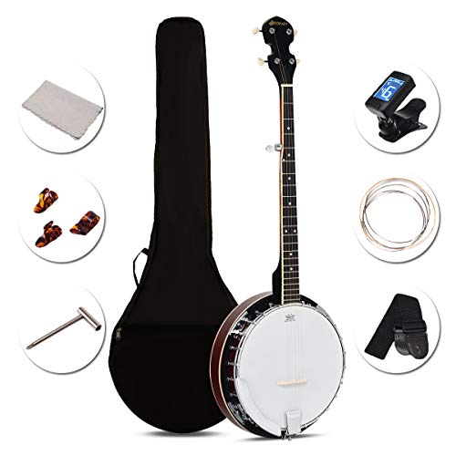 Sonart 5-String Banjo 24 Adjustable Brackets, Mid-range Closed Handle and Mid-range Steel Wire in Plywood Frame, Fingerboard, Include 420D Oxford Cloth Bag, One Strap, Wiper, 3 Picks