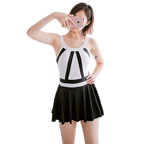 Traje de Baño Blanco y Negro del Traje de Baño del Vestido de la Nadada de las Mujeres , black , L