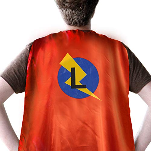 Super Hero Capes for Men, Adult Superhero Capes for Women, Cape and Mask Adult Double Color Cape with Mask, Initial Superhero Cape with Letter L