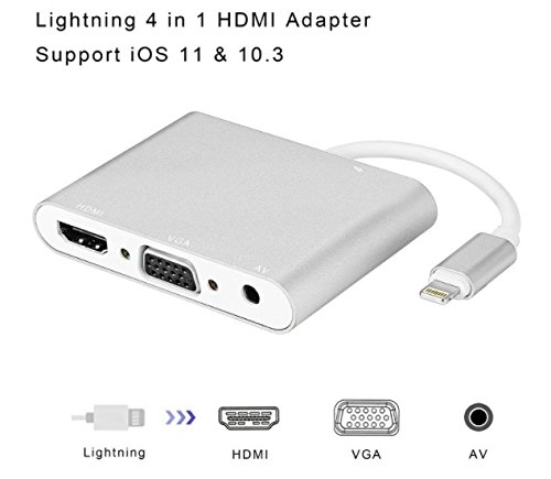 Lightning to HDMI VGA Audio Adapter Converter, Plug and Play 3-in-1 iPhone/iPad/iPod to Projector Display TV
