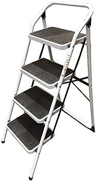 Bresme Escalera Taburete Plegable - Escalera de Acero con 4 Peldaños Muy Resistente y Cómoda con Seguridad Anticierre. Dimensiones: 110 x 46 x 45 centímetros.: Amazon.es: Oficina y papelería