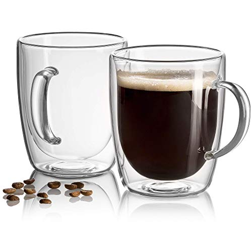 18 oz Large Coffee Mug - Double Wall Insulated Glass, Unique Gift set of 2. Keeps Hot Or Cold Drinks Longer - Clear Coffee Mugs - JECOBI