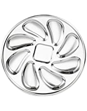 Cabilock Oyster Plate Stainless Steel Oyster Shell Shaped Oyster Pan Dish Seafood Serving Tray for Oysters Sauce Lemons