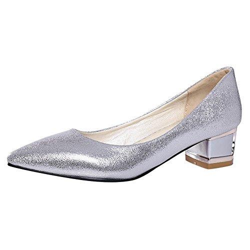 df78f12feaa153 Mee Shoes Damen chunky heels Geschlossen spitz Pumps 36 EUSilber -  goettingen-versicherung.de