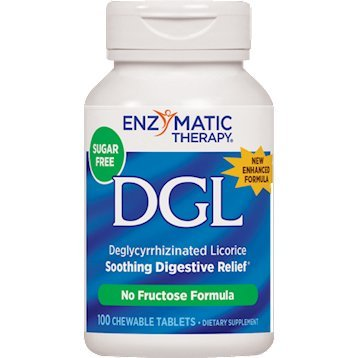 Enzymatic Therapy, DGL (Without Fructose), 100 Chewable Tablets. Pack of 1 Bottle