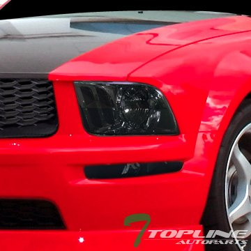 Topline Autopart Crystal Smoke Clear Head Lights Lamps Left+Right Dy 05-09 Ford Mustang V6 V8 Gt
