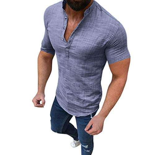 Fullfun Men's Casual Button Neck Blouse Cotton Linen T-Shirt Loose Tops Short Sleeve Tee Shirt (M, Gray) ()