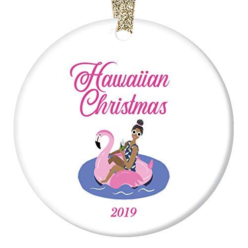 Hawaiian Christmas Ornament 2019 Pink Flamingo Easy Living Island Beach Life Porcelain Keepsake Holiday Tree Decoration Friends Relatives 3